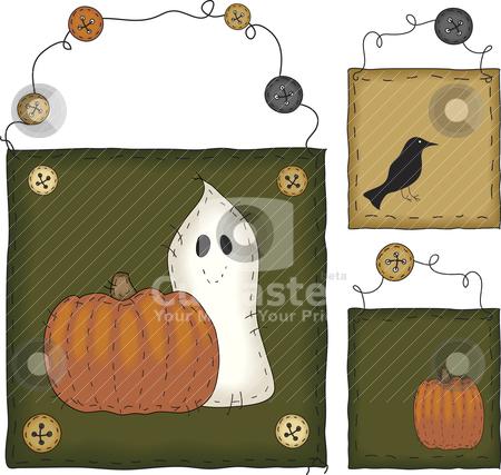 Primitive Folk Art Halloween Set stock vector.