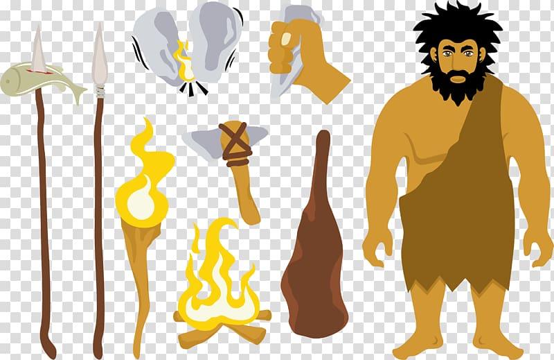 A primitive man; a savage transparent background PNG clipart.