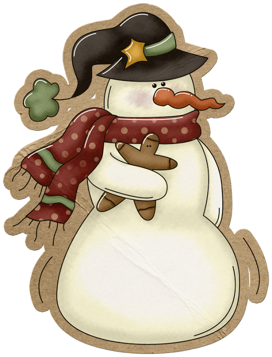 PRIMITIVE SNOWMAN AND GINGERBREAD *.
