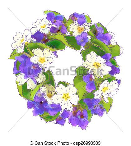 Vector Clipart of Wreath of woodland violets and primula.
