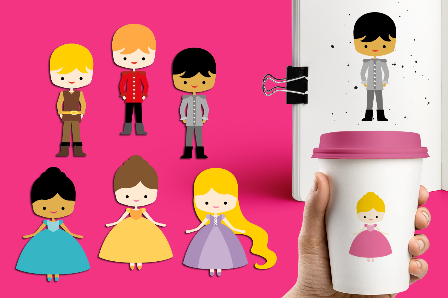 Cute Prince and Princess clipart graphics.