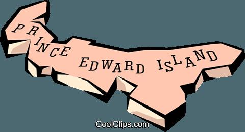 Prince Edward Island map Royalty Free Vector Clip Art illustration.