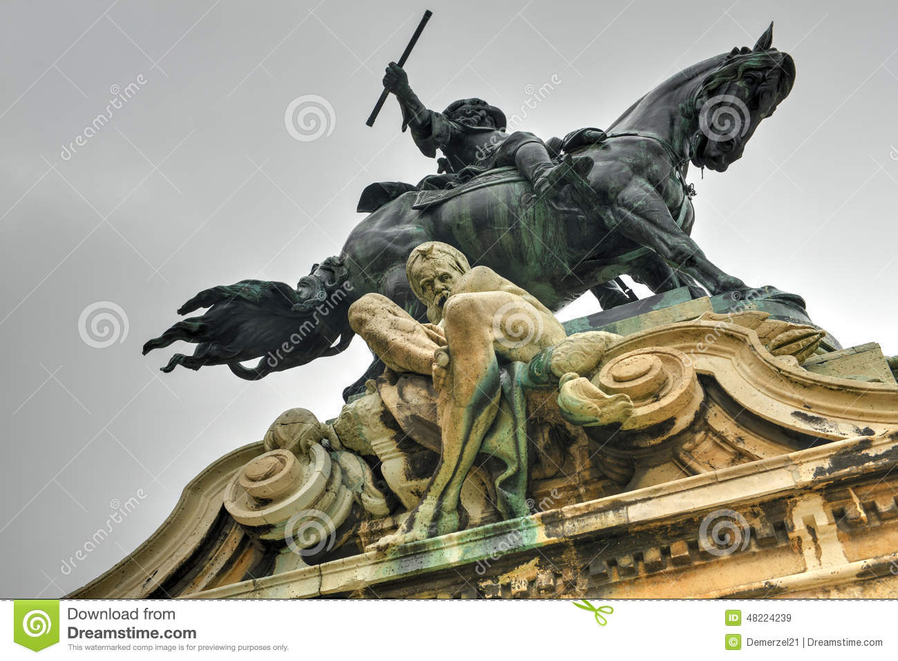Buda Castle And The Statue Of Prince Eugene Of Savoy Stock Photo.