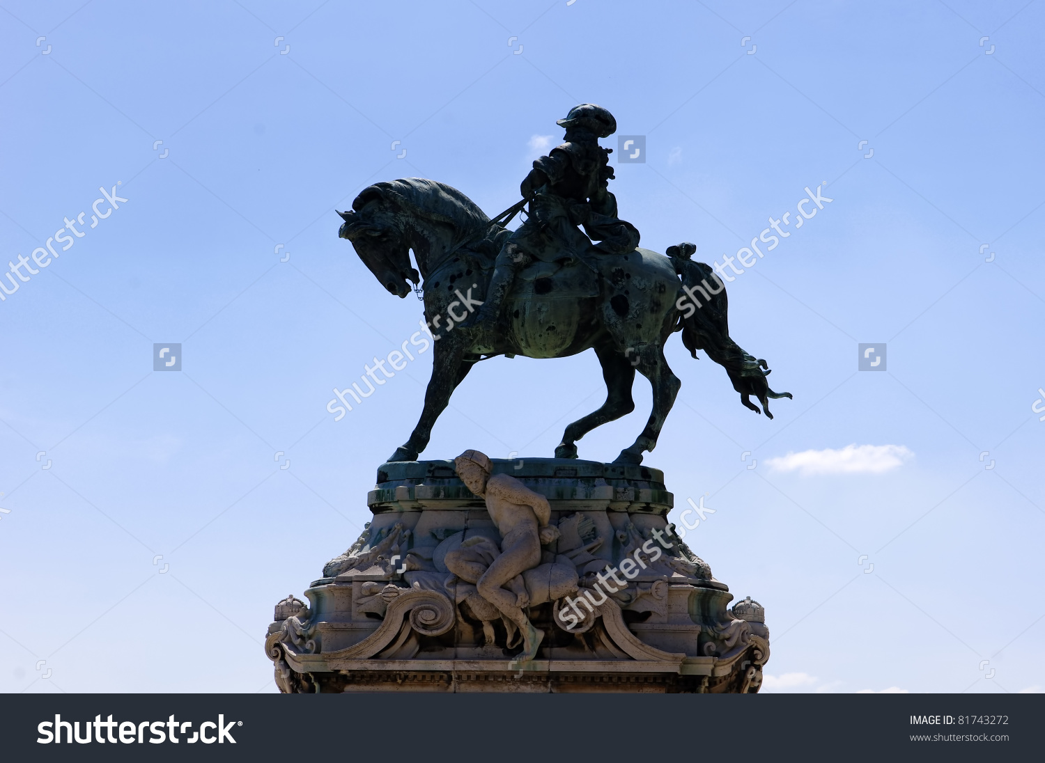 Silhouette Of Statue, Prince Eugene Of Savoy, Budapest Stock Photo.