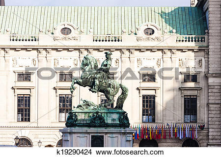 Stock Photo of Statue of Prince Eugene of Savoy in front of.