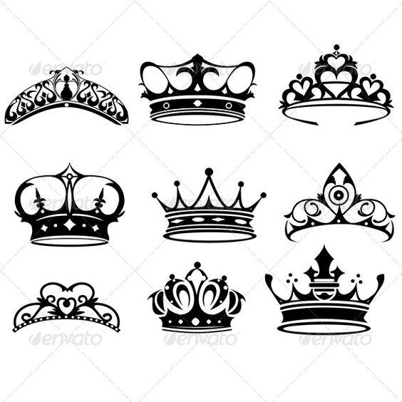 Crown Icons aristocracy, black, clip.