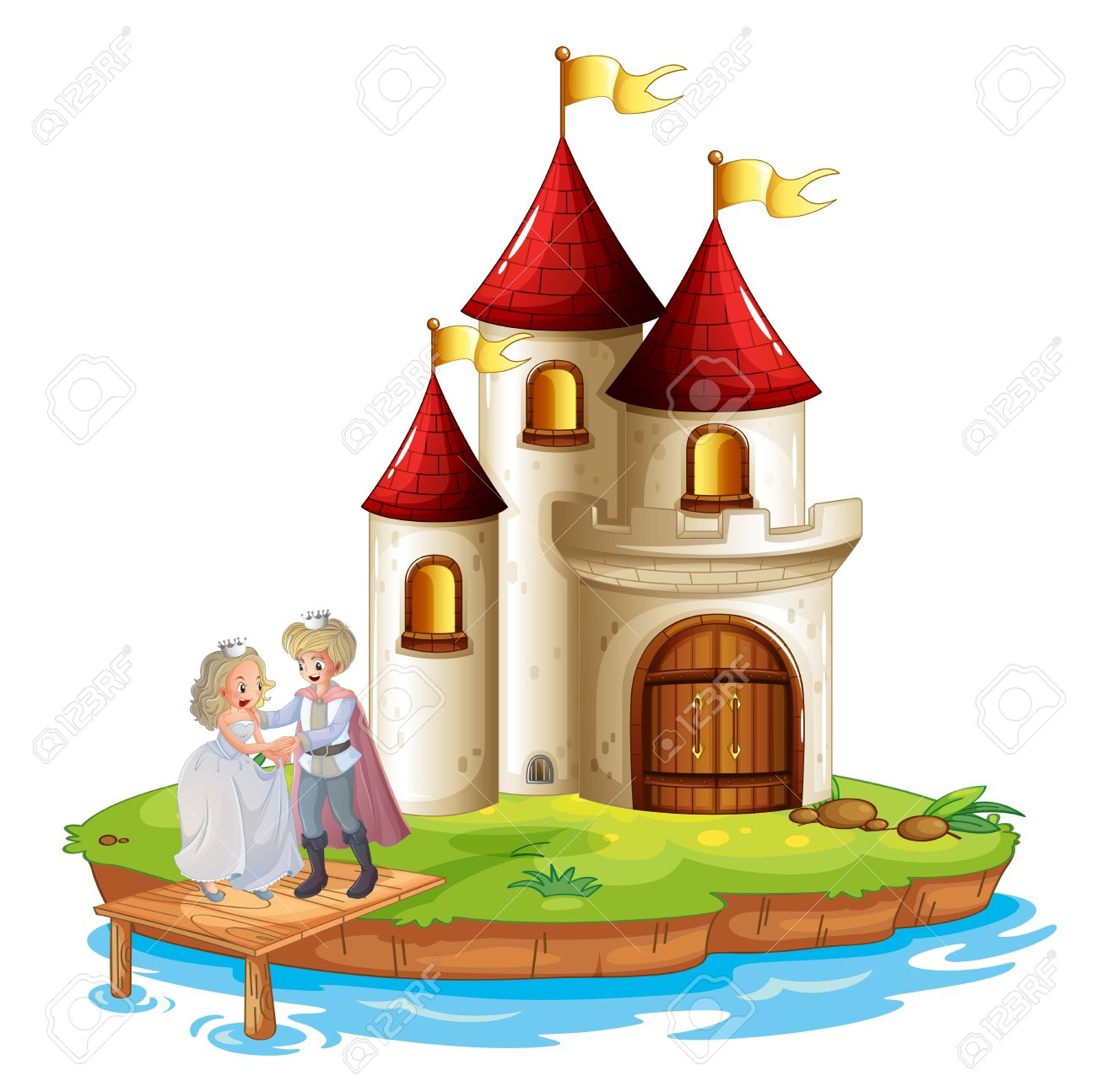 Illustration Of A Prince And A Princess With A Castle At The.