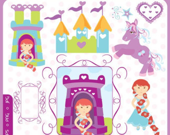 Doll House Furniture Clip Art digital illustration shabby.