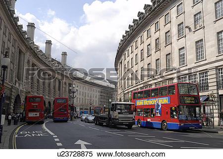 Stock Image of England, London, Regent Street, A view along Regent.