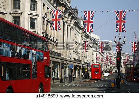 Stock Photograph of England, London, Regent Street. Union Jack.