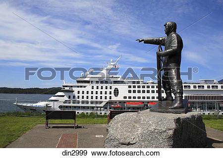 Stock Photograph of Cruise ship ; statue in garden ; Prince Rupert.
