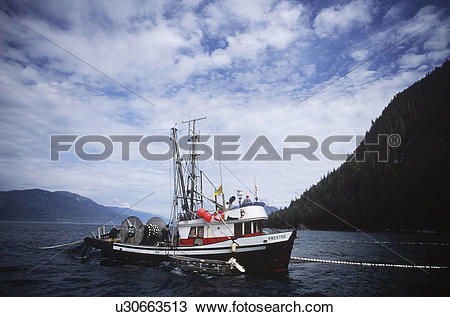 Stock Photo of commercial seine boat north of Prince Rupert.