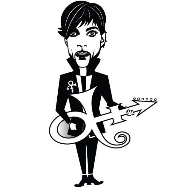 Prince music celebrity caricature.