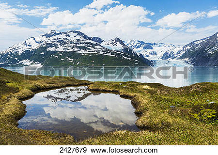 Stock Photograph of Scenic of Harriman Fjord with Surprise Glacier.