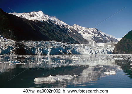 Stock Photo of Cascade & Barry Glaciers Prince William Sound AK.