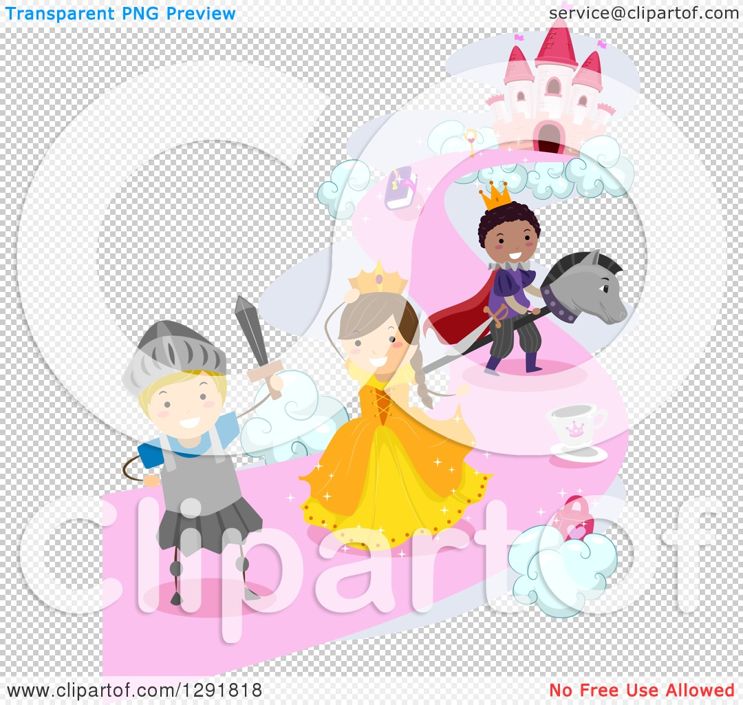 Clipart of Children Imagining They Are Princes, Princesses and.