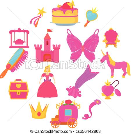 Princess accessories icons set, cartoon style.