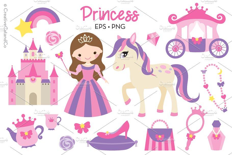 Princess Vector EPS PNG Clipart Set ~ Illustrations.