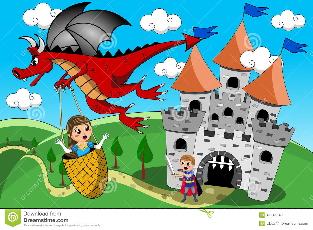 Princess Prince Dragon Tower Duel Kids Tale Stock Vector.