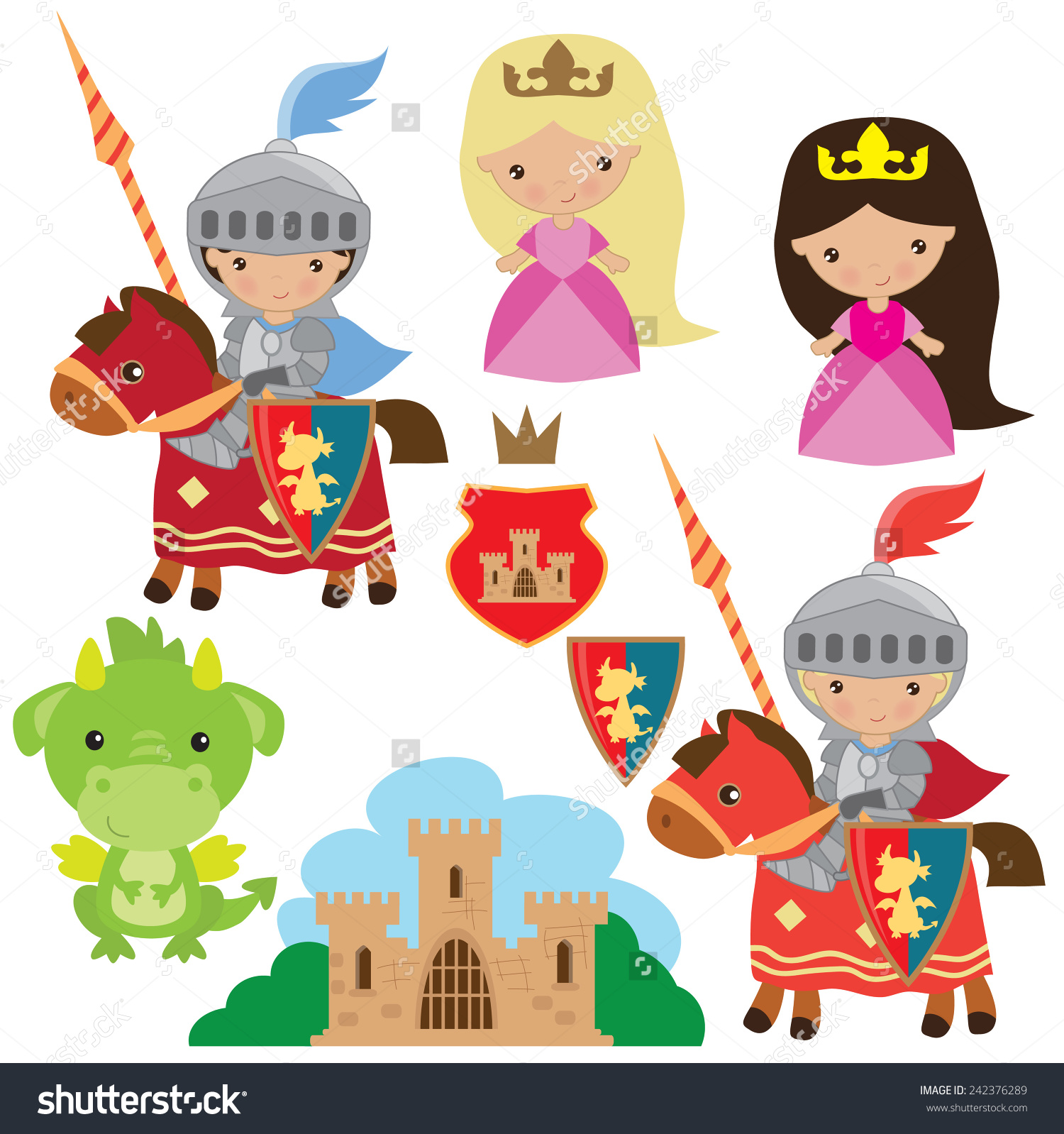 Knight Princess Dragon Vector Illustration Stock Vector 242376289.