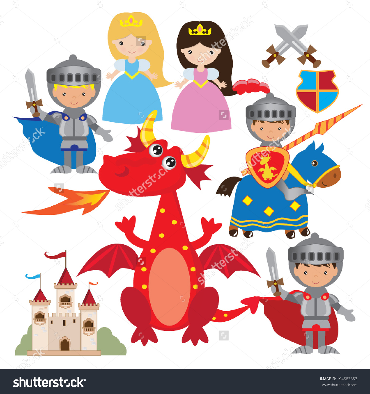 Fairy Tale Medieval Knight Princess Dragon Stock Vector 194583353.