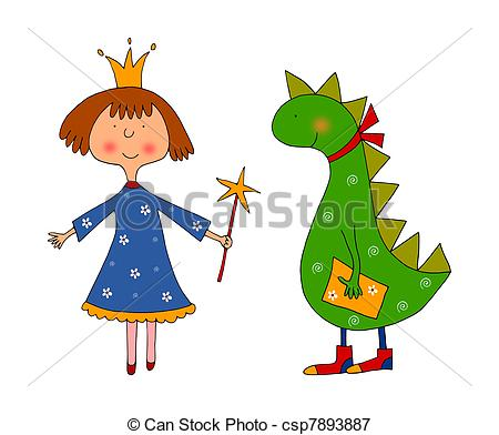 Stock Illustrations of Princess and dragon.