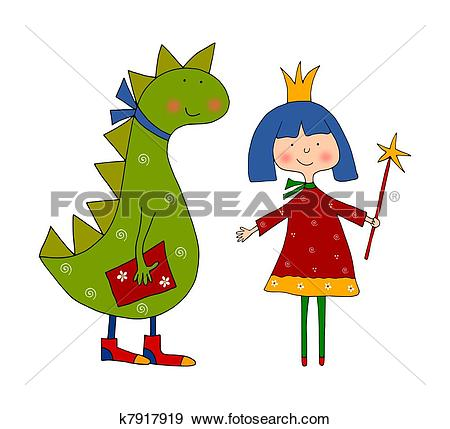 Stock Illustration of Coloring book. Princess and dragon k7917919.