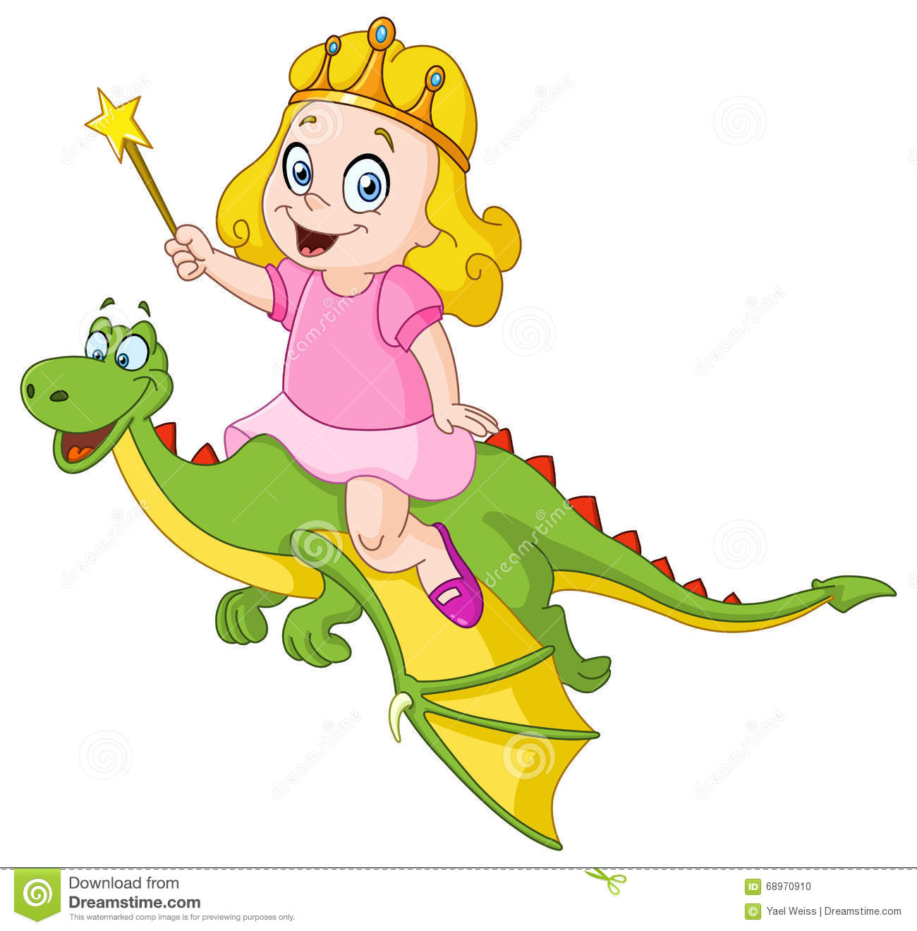 Princess Riding Dragon Stock Vector.