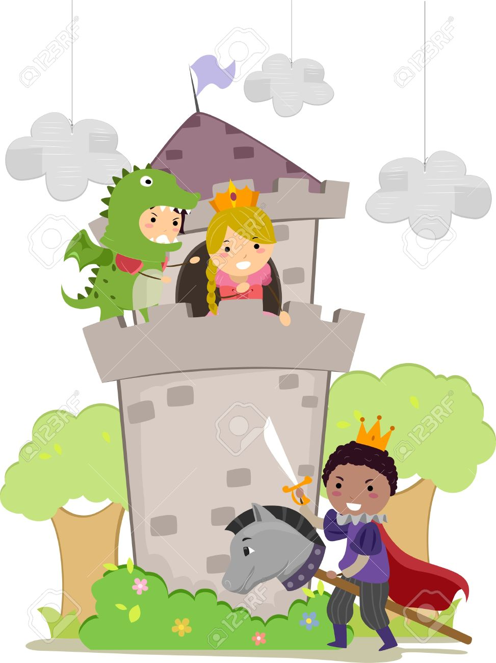 Illustration Of Stickman Kids Plays Dragon, Prince, And Princess.