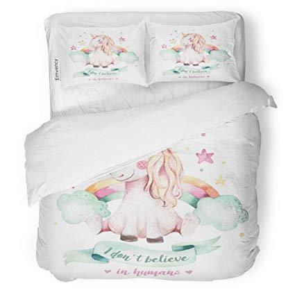 Amazon.com: SanChic Duvet Cover Set Cute Watercolor Unicorn.