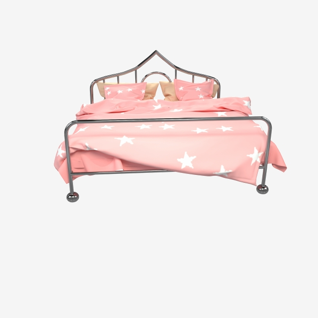 3d Metallic Pink Pattern Princess Bed, C4d, Double Bed.