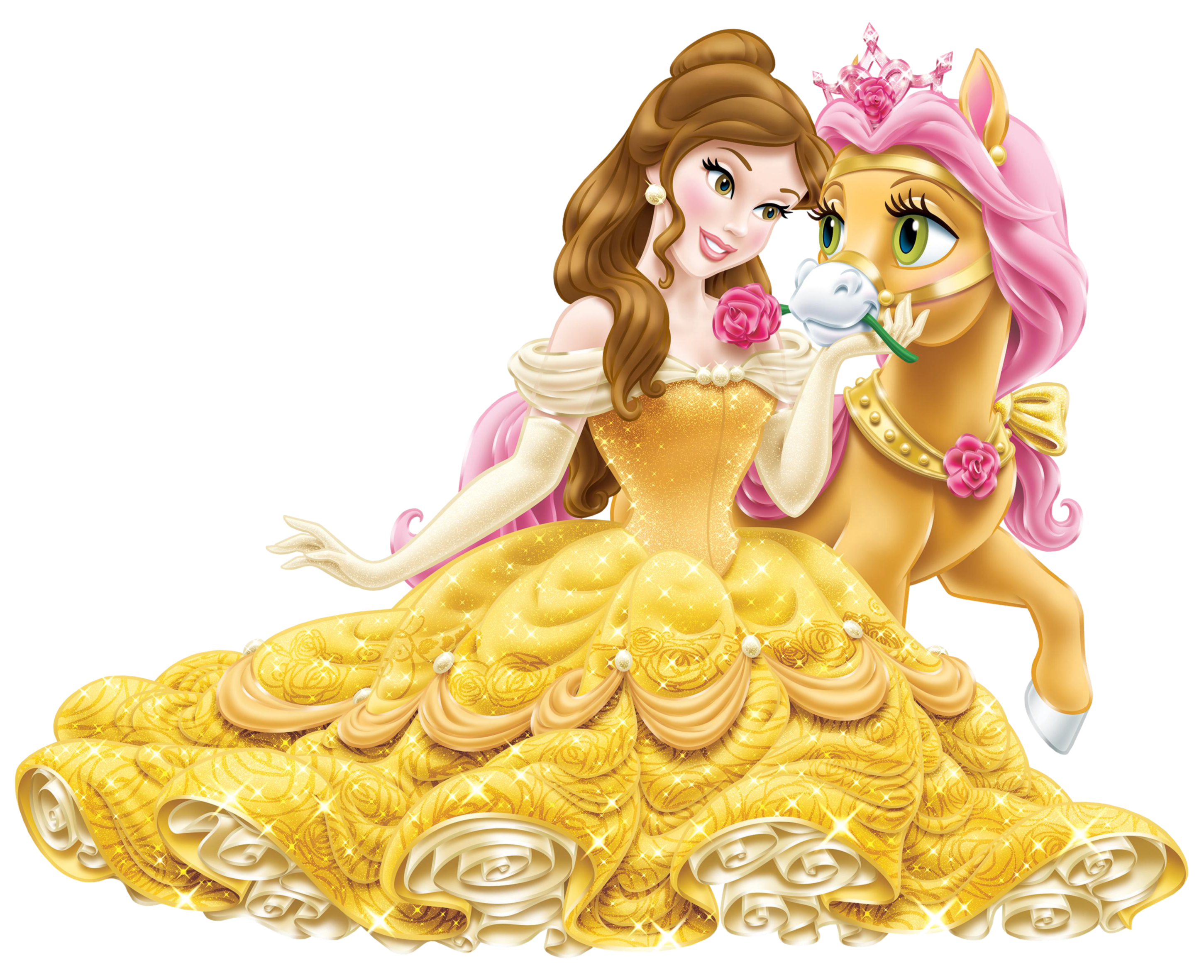 Disney Princess Belle with Cute Pony Transparent PNG Clip Art Image.
