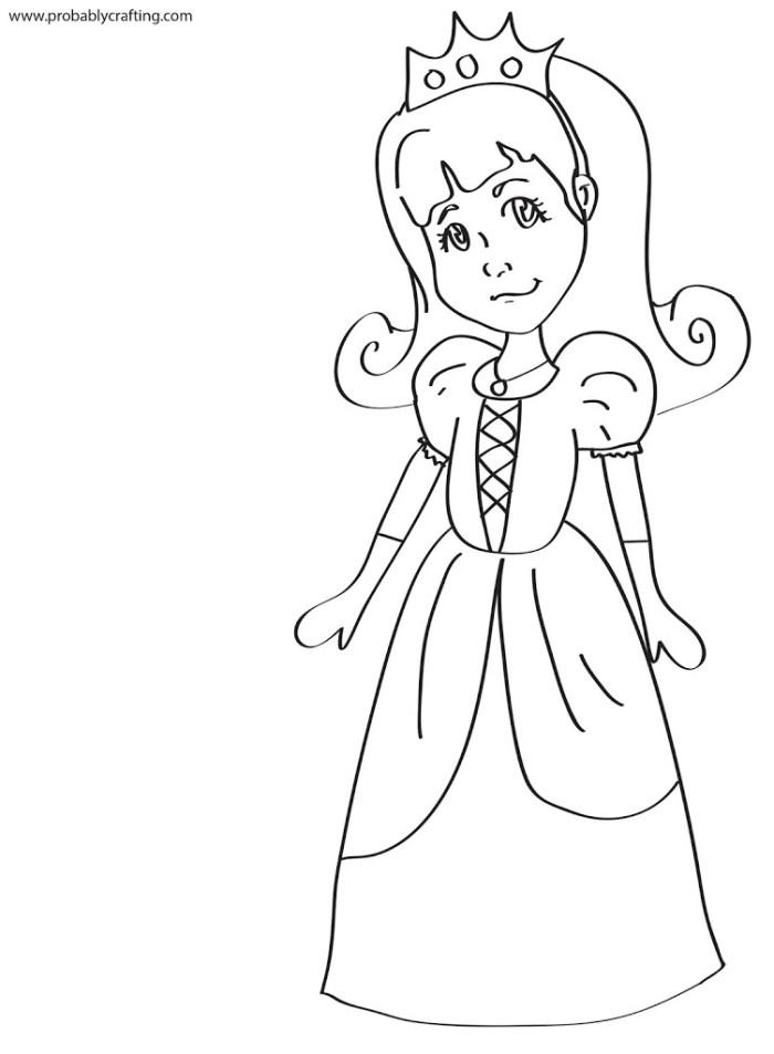 Prinzessin Clipart Schwarz Weiß