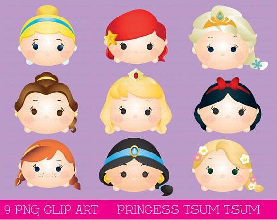 Princess Tsum tsum clipart, tsum tsum graphics, disney tsum.