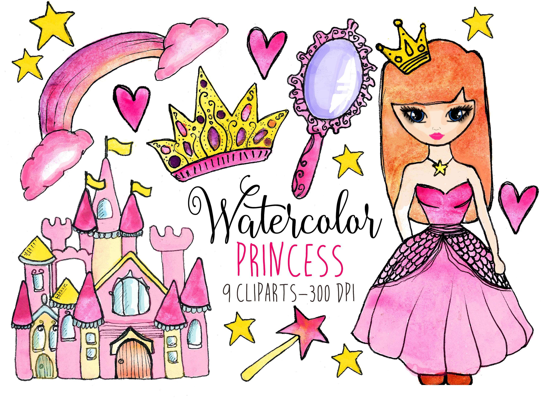 Princess Clipart Watercolor Princess clip art Pink Castle.