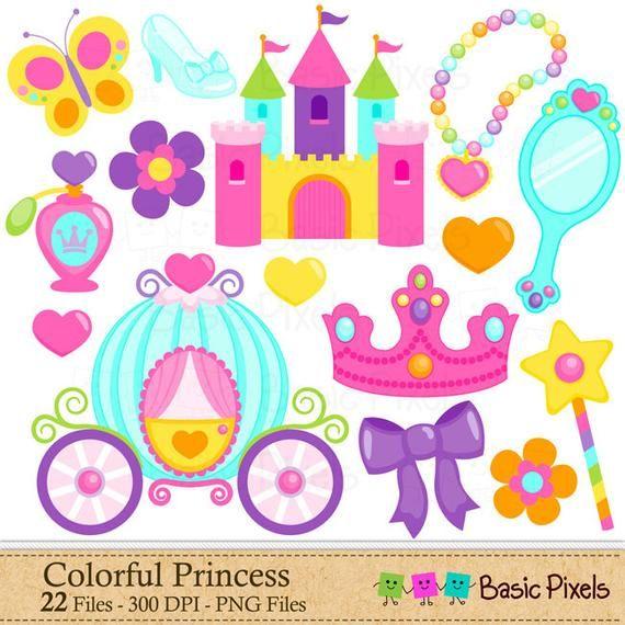 Colorful Princess Clip Art.