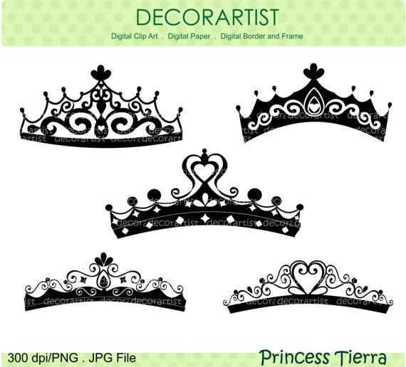 Silhouette Princess clipart, princess Tierra , Black, instant.