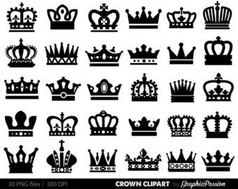Doodle Crown Clipart, Hand drawn Crown Clip Art, Crown Silhouette.