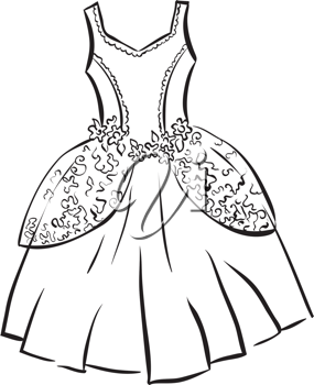 Royalty Free Clipart Image of a Princess Dress.