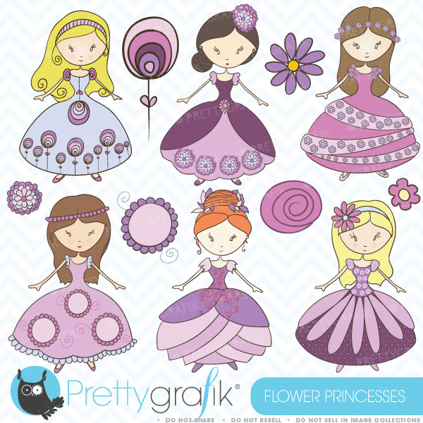 Flower princess clipart princess clipart commercial use [CL368.