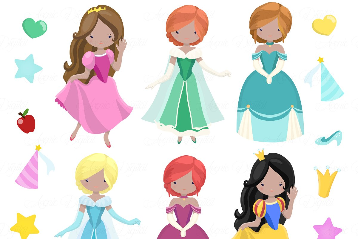 Fairytale Princess Clipart + Vectors.