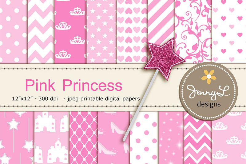 Pink Princess Digital Papers, Magic Wand Clipart, Glass Slippers, castle  Pink Birthday theme Princess Party, Stars Sparkles Clipart.