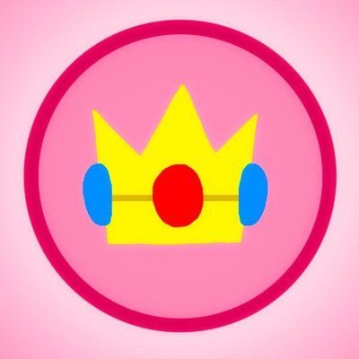 Princess Peach\'s mighty crown emblem! Peach (c) Nintendo Art.