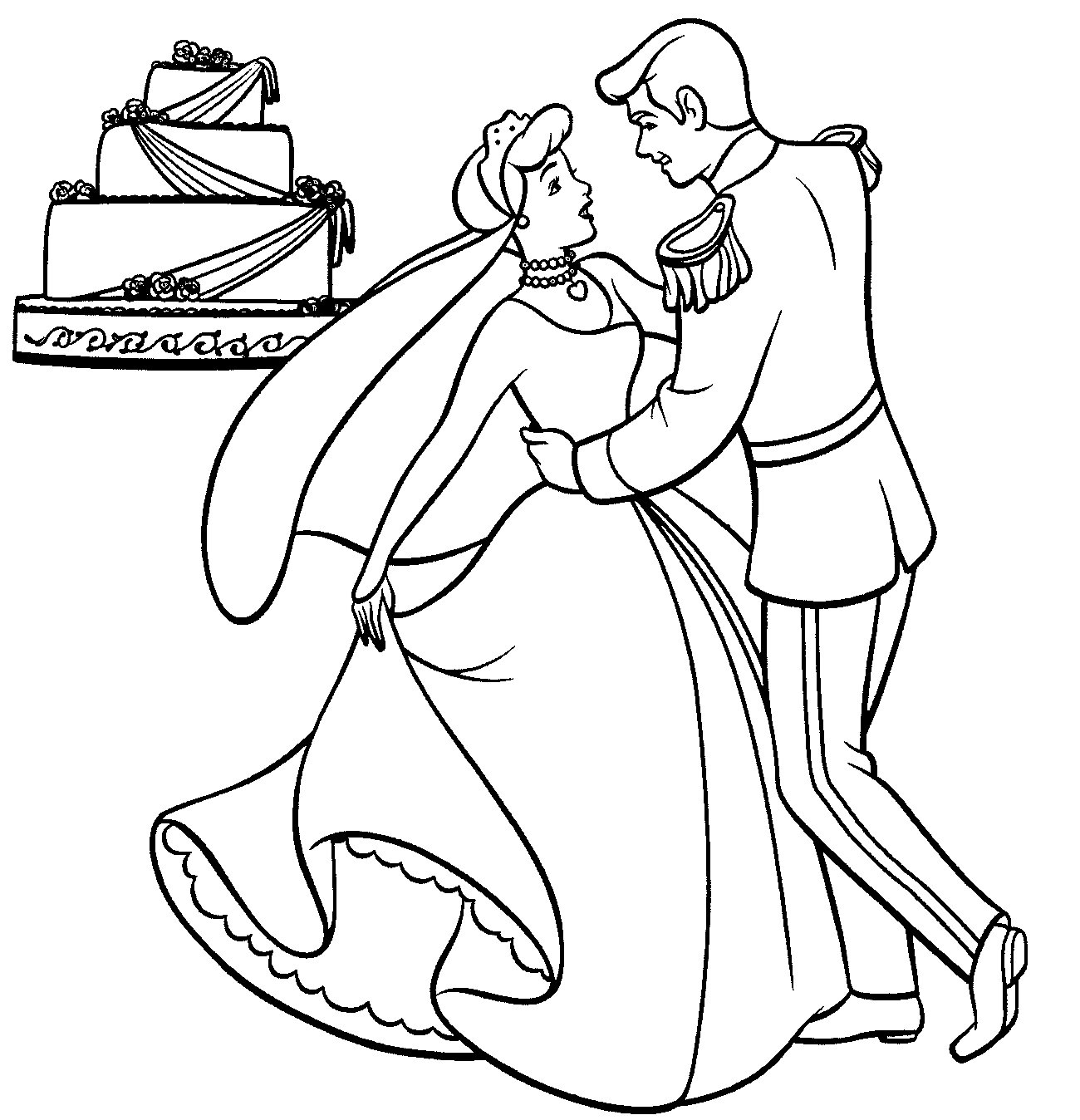 Free Cinderella Clipart Coloring Pages precious moments memory.
