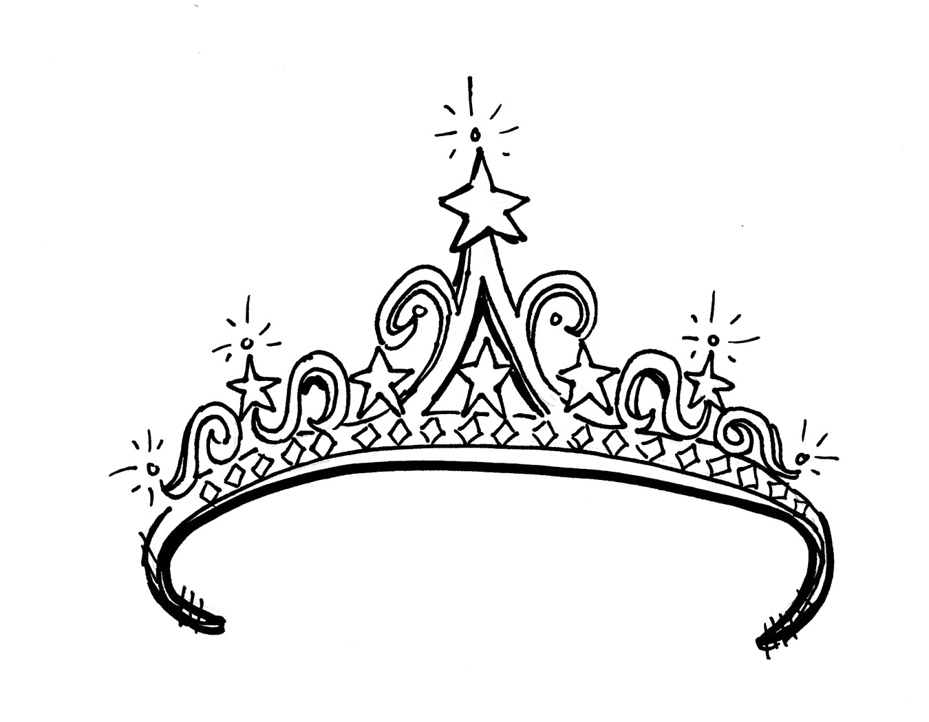 Princess crown clipart black and white 1 » Clipart Station.