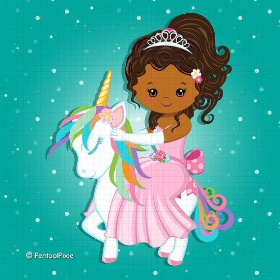 Unicorn Princess clipart, Unicorn Clipart, African American.