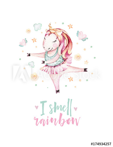 Isolated cute watercolor unicorn clipart. Nursery unicorns.