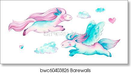 Isolated cute watercolor unicorn clipart. Nursery unicorns illustration.  Princess unicorns poster. art print poster.