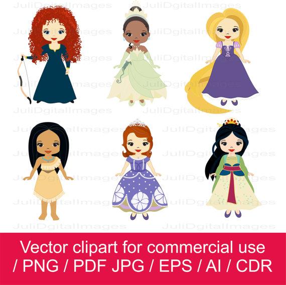 Princesses clipart / little princess clipart / princess.