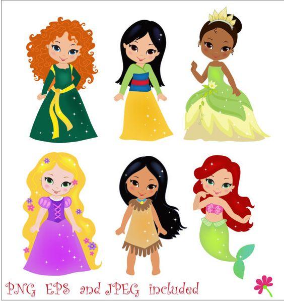 Disney princesses clipart simple.